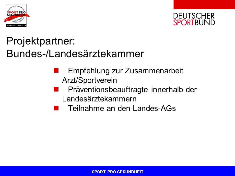SPORT PRO GESUNDHEIT Projektpartner: Bundes-/Landesärztekammer Empfehlung zur Zusammenarbeit Arzt/Sportverein Präventionsbeauftragte innerhalb der Lan