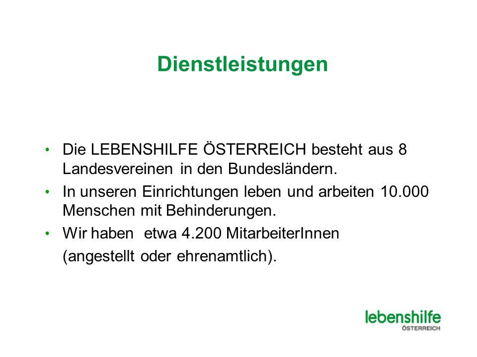 Dienstleistungen Die LEBENSHILFE ÖSTERREICH besteht aus 8 Landesvereinen in den Bundesländern.