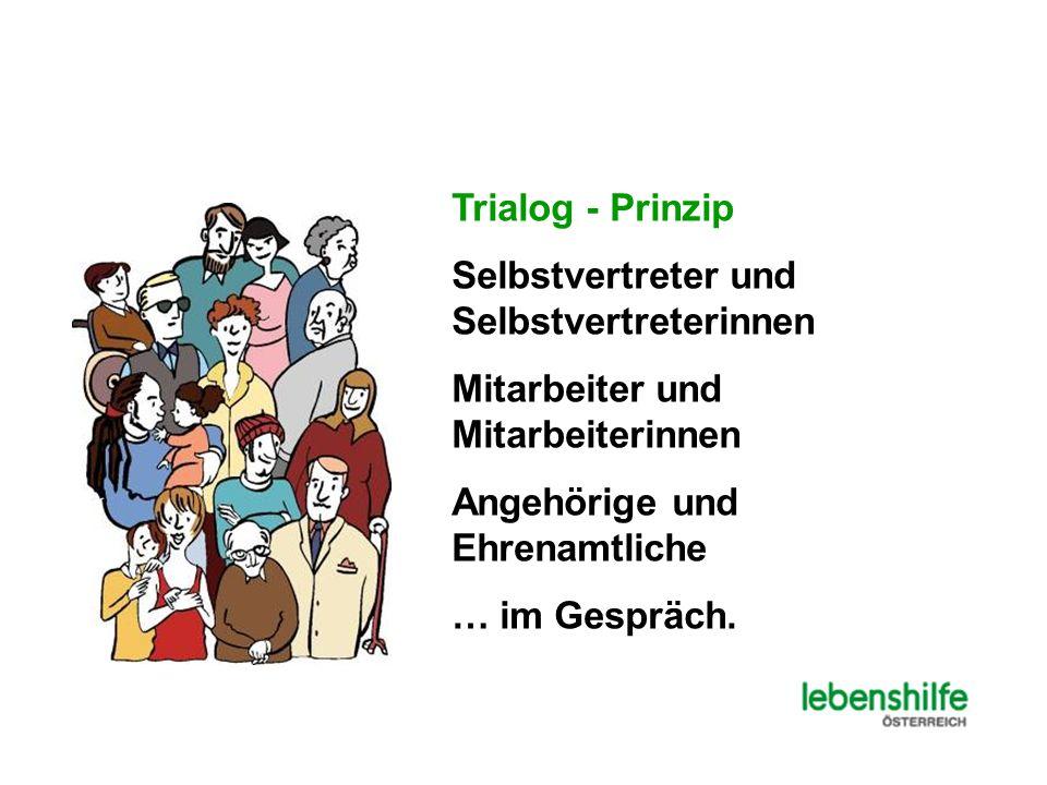 Trialog - Prinzip Selbstvertreter und Selbstvertreterinnen Mitarbeiter und Mitarbeiterinnen Angehörige und Ehrenamtliche … im Gespräch.