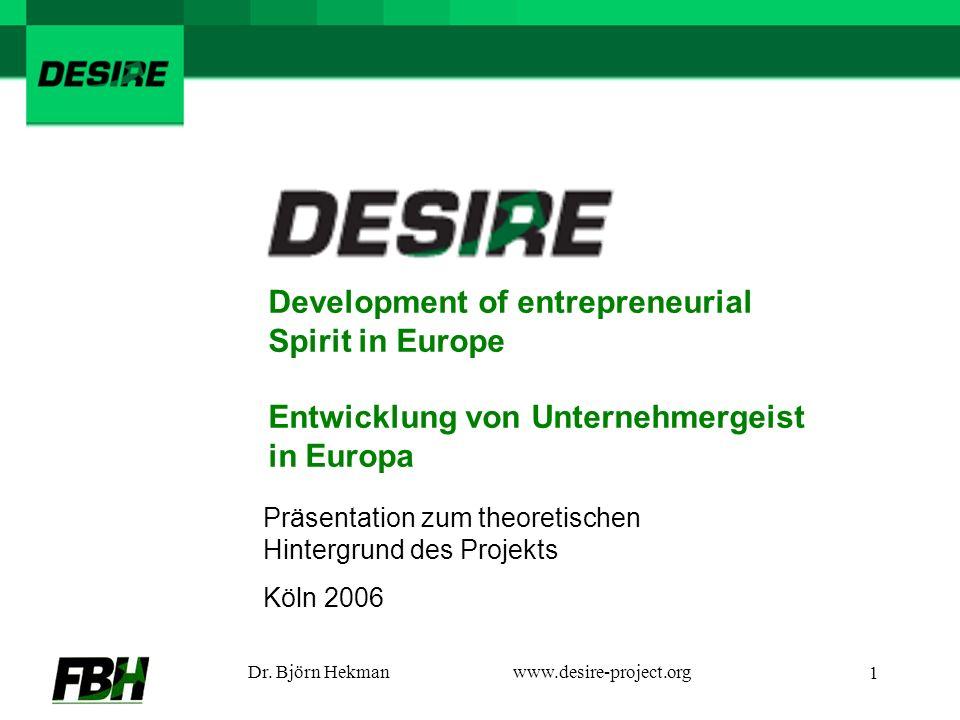 Dr. Björn Hekmanwww.desire-project.org 1 Präsentation zum theoretischen Hintergrund des Projekts Köln 2006 Development of entrepreneurial Spirit in Eu