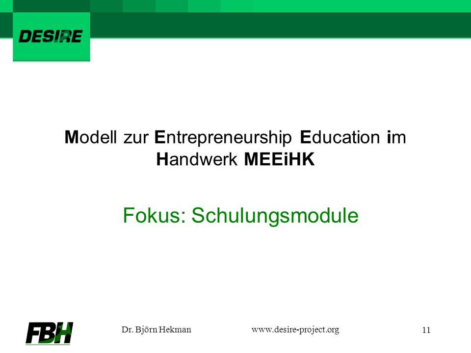 Dr. Björn Hekmanwww.desire-project.org 11 Modell zur Entrepreneurship Education im Handwerk MEEiHK Fokus: Schulungsmodule