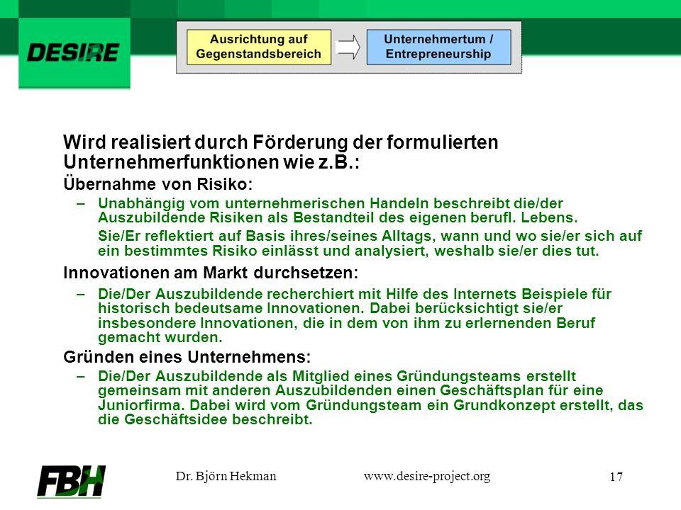 Dr. Björn Hekmanwww.desire-project.org 17 Wird realisiert durch Förderung der formulierten Unternehmerfunktionen wie z.B.: Übernahme von Risiko: –Unab