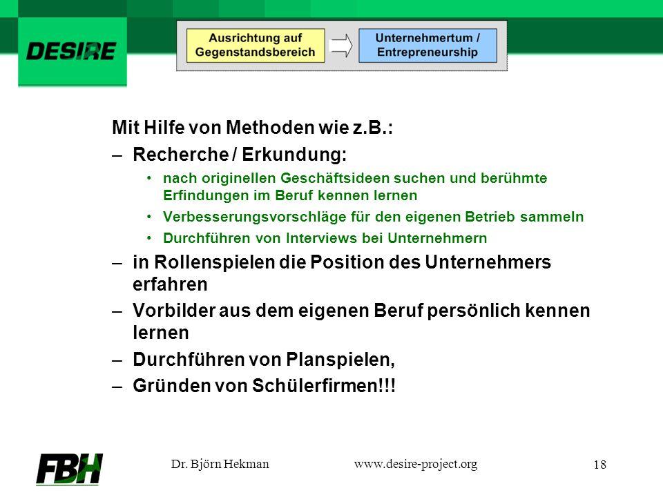 Dr. Björn Hekmanwww.desire-project.org 18 Mit Hilfe von Methoden wie z.B.: –Recherche / Erkundung: nach originellen Geschäftsideen suchen und berühmte
