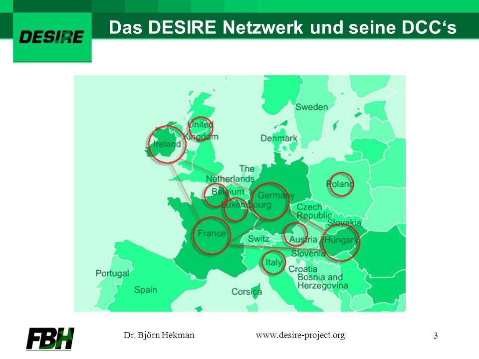Dr. Björn Hekmanwww.desire-project.org 3 Das DESIRE Netzwerk und seine DCCs