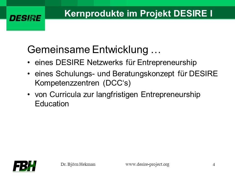 Dr. Björn Hekmanwww.desire-project.org 4 Kernprodukte im Projekt DESIRE I Gemeinsame Entwicklung … eines DESIRE Netzwerks für Entrepreneurship eines S