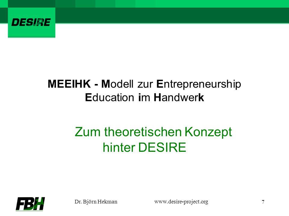 Dr. Björn Hekmanwww.desire-project.org 7 MEEIHK - Modell zur Entrepreneurship Education im Handwerk Zum theoretischen Konzept hinter DESIRE