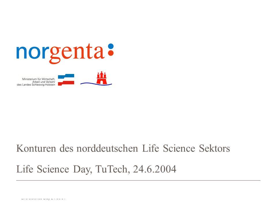 norgenta Norddeutsche Life Science Agentur Life Science Day 24.06.04 Konturen des norddeutschen Life Science Sektors Life Science Day, TuTech, 24.6.2004