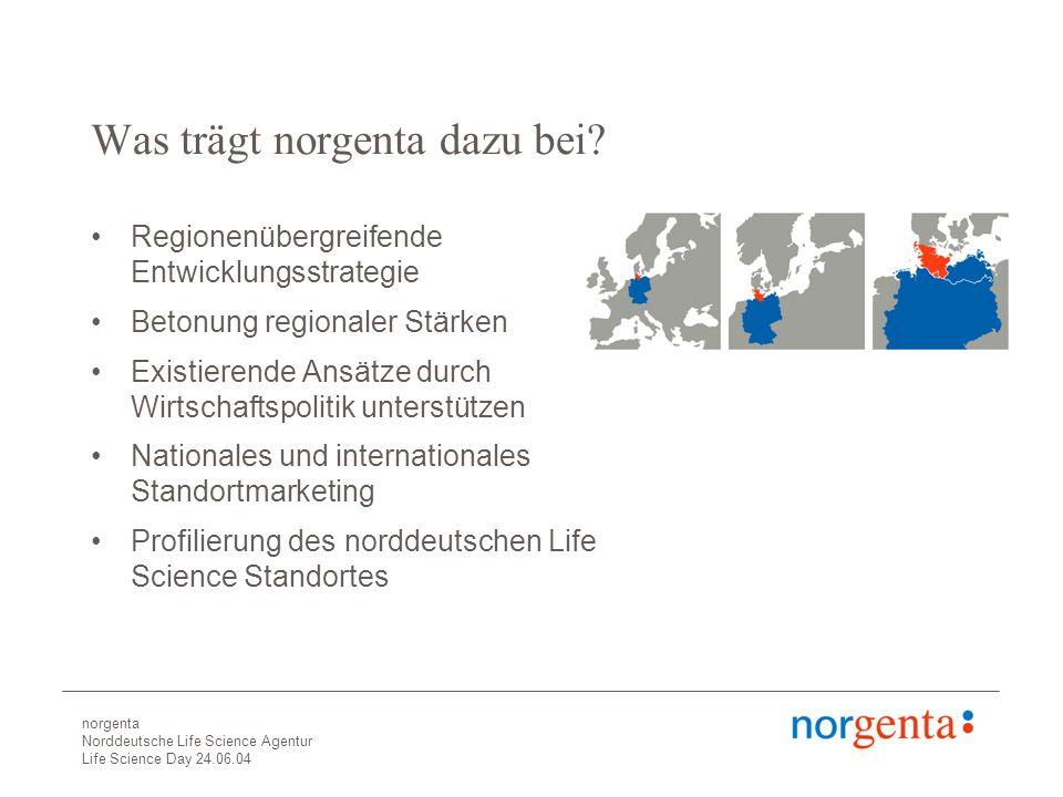 norgenta Norddeutsche Life Science Agentur Life Science Day 24.06.04 Was trägt norgenta dazu bei.