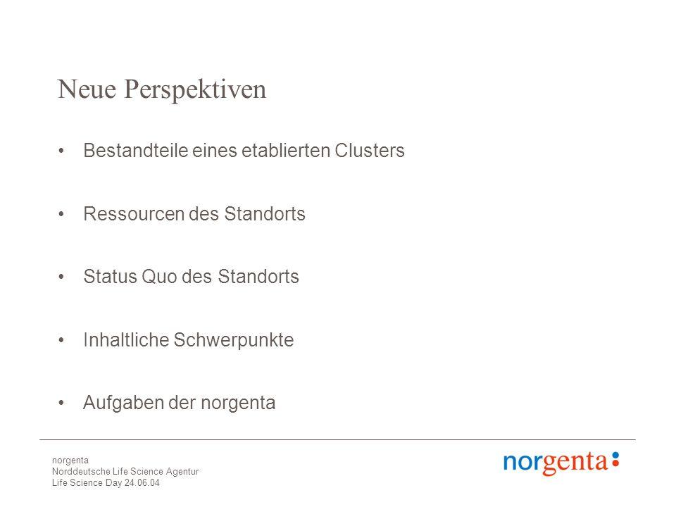 norgenta Norddeutsche Life Science Agentur Life Science Day 24.06.04 Neue Perspektiven Bestandteile eines etablierten Clusters Ressourcen des Standorts Status Quo des Standorts Inhaltliche Schwerpunkte Aufgaben der norgenta