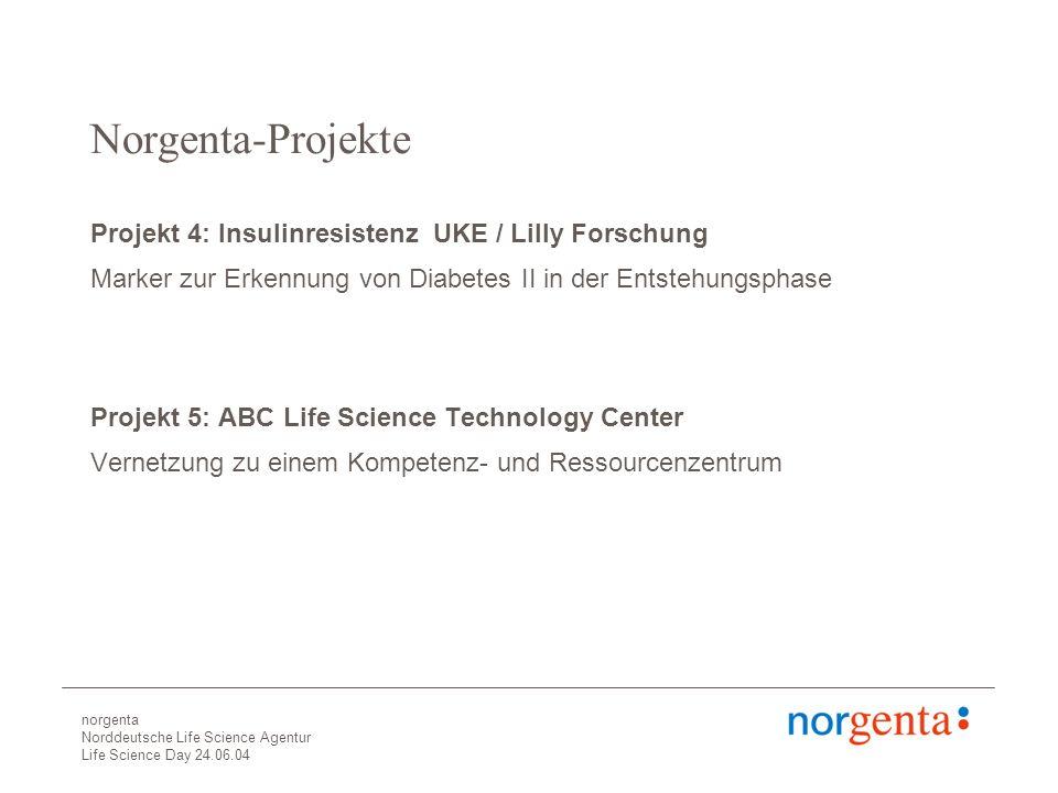 norgenta Norddeutsche Life Science Agentur Life Science Day 24.06.04 Norgenta-Projekte Projekt 4: Insulinresistenz UKE / Lilly Forschung Marker zur Erkennung von Diabetes II in der Entstehungsphase Projekt 5: ABC Life Science Technology Center Vernetzung zu einem Kompetenz- und Ressourcenzentrum