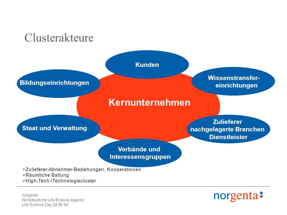 norgenta Norddeutsche Life Science Agentur Life Science Day 24.06.04 Voraussetzungen für die Entwicklung von Clusterstrukturen Unternehmen, Führungspersönlichkeiten, Ansätze eines Netzwerks Dynamischer Absatzmarkt für Produkte des Clusters Potenzial für kritische Masse (insb.