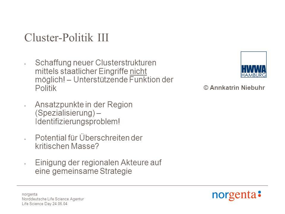 norgenta Norddeutsche Life Science Agentur Life Science Day 24.06.04 Cluster-Politik III Schaffung neuer Clusterstrukturen mittels staatlicher Eingriffe nicht möglich.