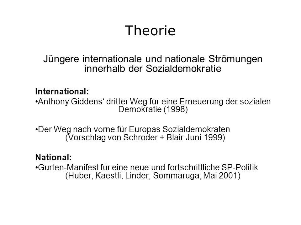 Theorie Jüngere internationale und nationale Strömungen innerhalb der Sozialdemokratie International: Anthony Giddens dritter Weg für eine Erneuerung