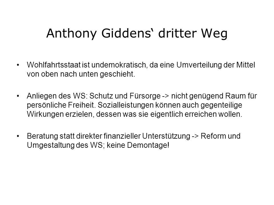 Anthony Giddens dritter Weg Wohlfahrtsstaat ist undemokratisch, da eine Umverteilung der Mittel von oben nach unten geschieht. Anliegen des WS: Schutz