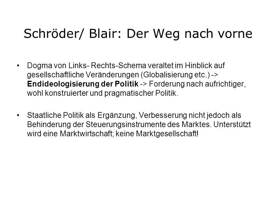 Schröder/ Blair: Der Weg nach vorne Dogma von Links- Rechts-Schema veraltet im Hinblick auf gesellschaftliche Veränderungen (Globalisierung etc.) -> E