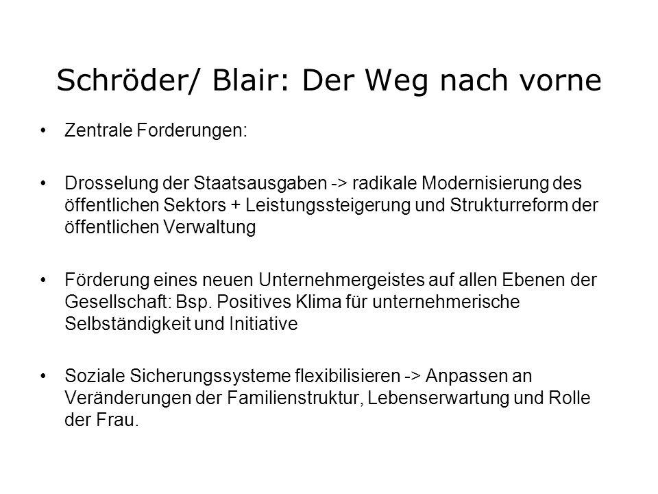 Schröder/ Blair: Der Weg nach vorne Zentrale Forderungen: Drosselung der Staatsausgaben -> radikale Modernisierung des öffentlichen Sektors + Leistung