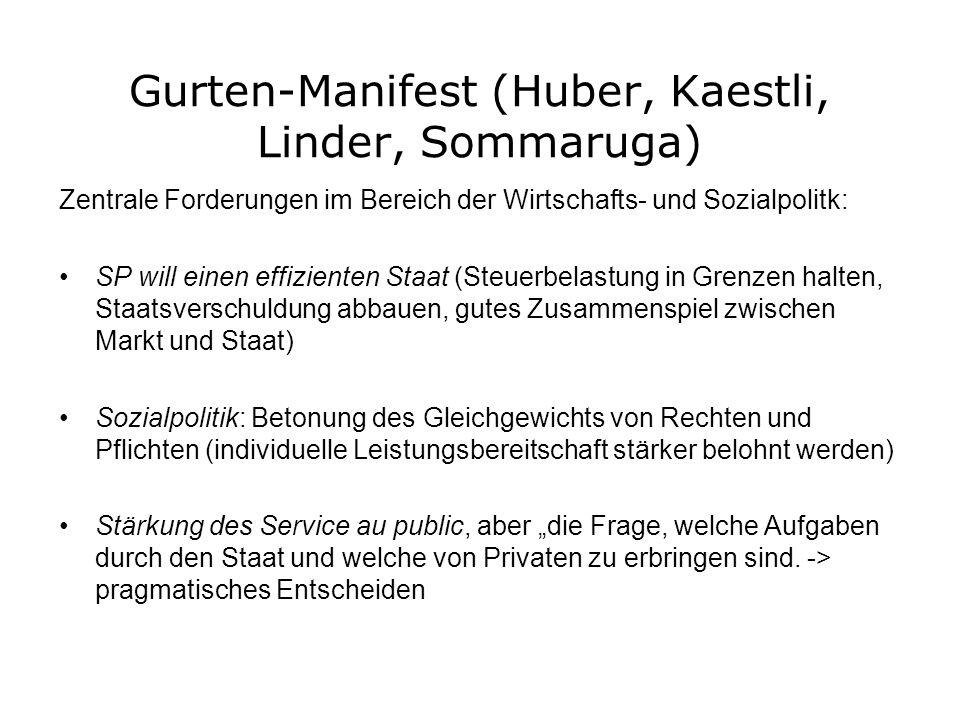 Gurten-Manifest (Huber, Kaestli, Linder, Sommaruga) Zentrale Forderungen im Bereich der Wirtschafts- und Sozialpolitk: SP will einen effizienten Staat