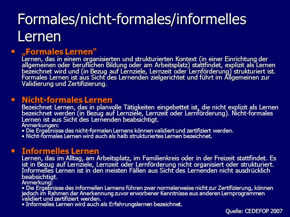 Formales/nicht-formales/informelles Lernen Formales Lernen Lernen, das in einem organisierten und strukturierten Kontext (in einer Einrichtung der all