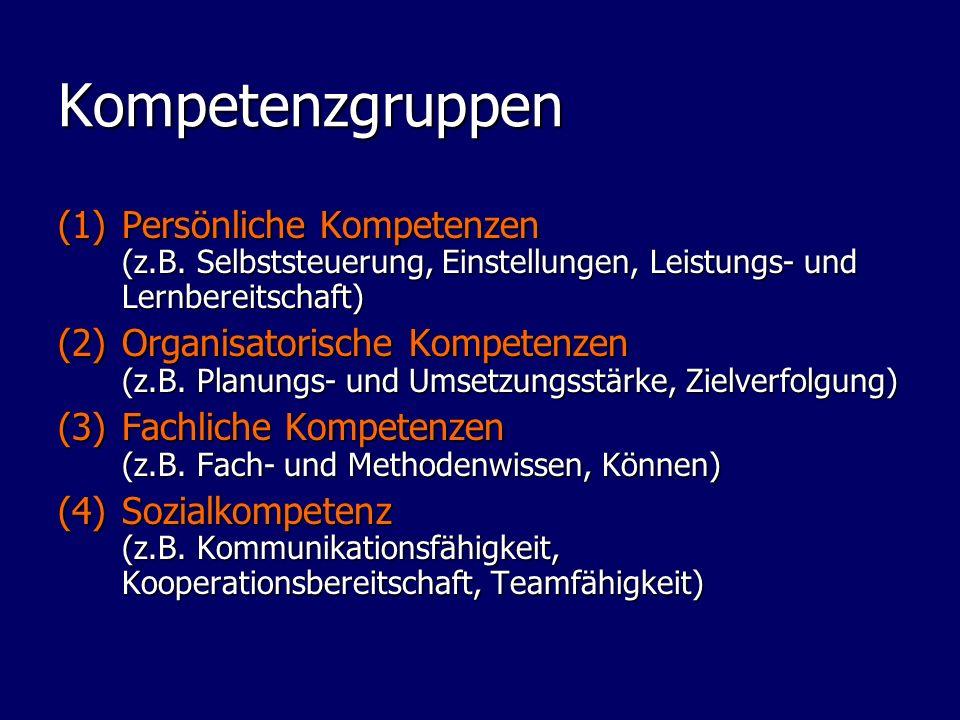 Kompetenzgruppen (1)Persönliche Kompetenzen (z.B. Selbststeuerung, Einstellungen, Leistungs- und Lernbereitschaft) (2)Organisatorische Kompetenzen (z.