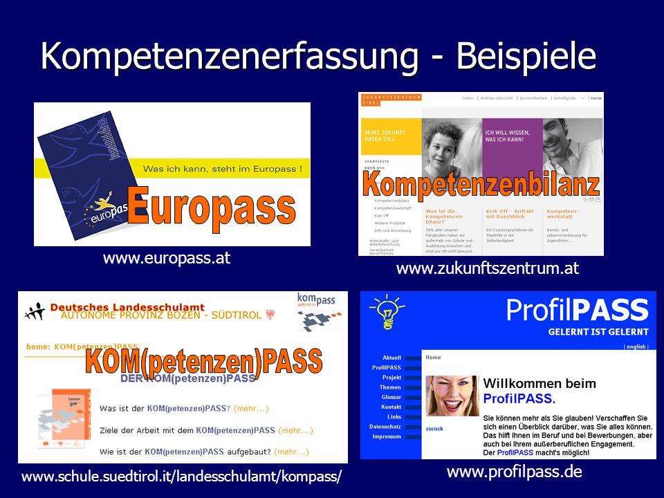 Kompetenzenerfassung - Beispiele www.europass.at www.zukunftszentrum.at www.profilpass.de www.schule.suedtirol.it/landesschulamt/kompass/