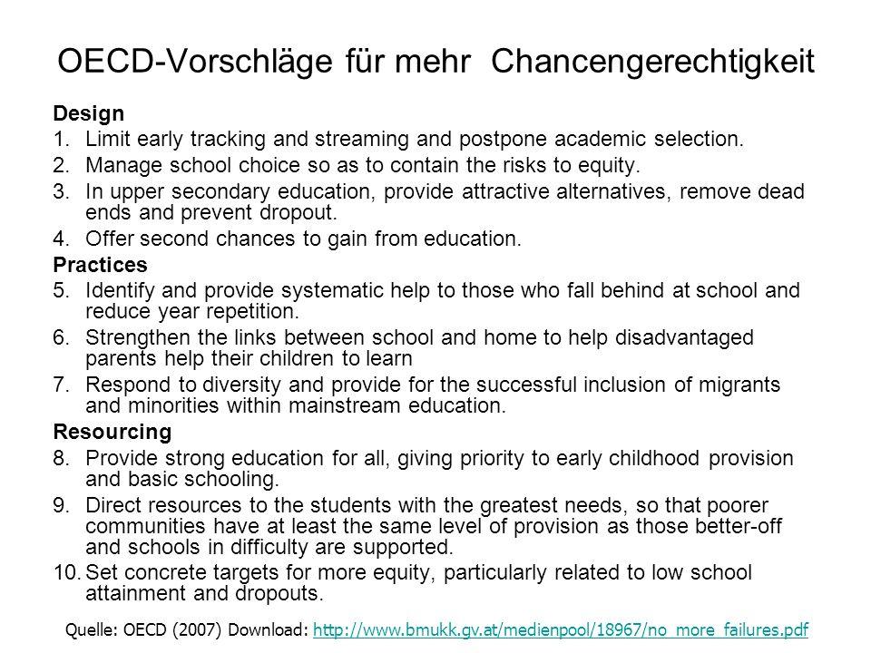 OECD-Vorschläge für mehr Chancengerechtigkeit Design 1.Limit early tracking and streaming and postpone academic selection. 2.Manage school choice so a