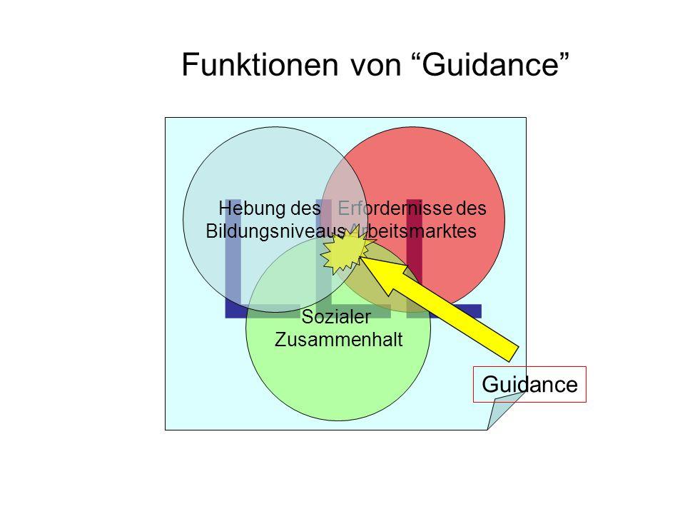 LLL Funktionen von Guidance Erfordernisse des Arbeitsmarktes Sozialer Zusammenhalt Hebung des Bildungsniveaus Guidance