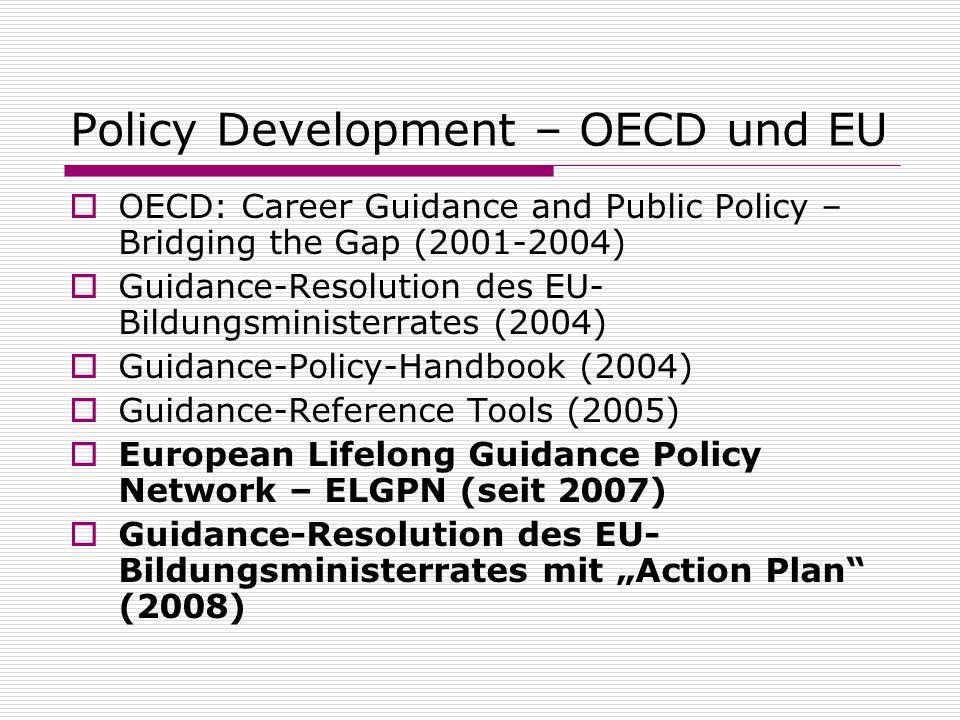 Policy Development – OECD und EU OECD: Career Guidance and Public Policy – Bridging the Gap (2001-2004) Guidance-Resolution des EU- Bildungsministerra