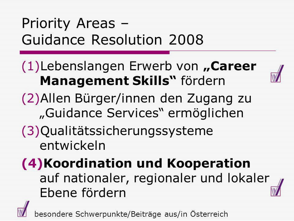 Priority Areas – Guidance Resolution 2008 (1)Lebenslangen Erwerb von Career Management Skills fördern (2)Allen Bürger/innen den Zugang zu Guidance Ser