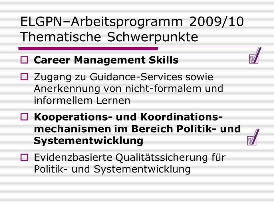 ELGPN–Arbeitsprogramm 2009/10 Thematische Schwerpunkte Career Management Skills Zugang zu Guidance-Services sowie Anerkennung von nicht-formalem und i