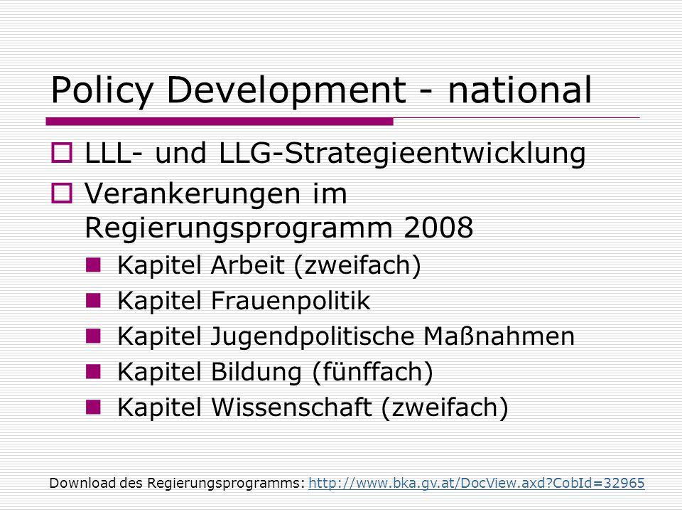 Policy Development - national LLL- und LLG-Strategieentwicklung Verankerungen im Regierungsprogramm 2008 Kapitel Arbeit (zweifach) Kapitel Frauenpolit