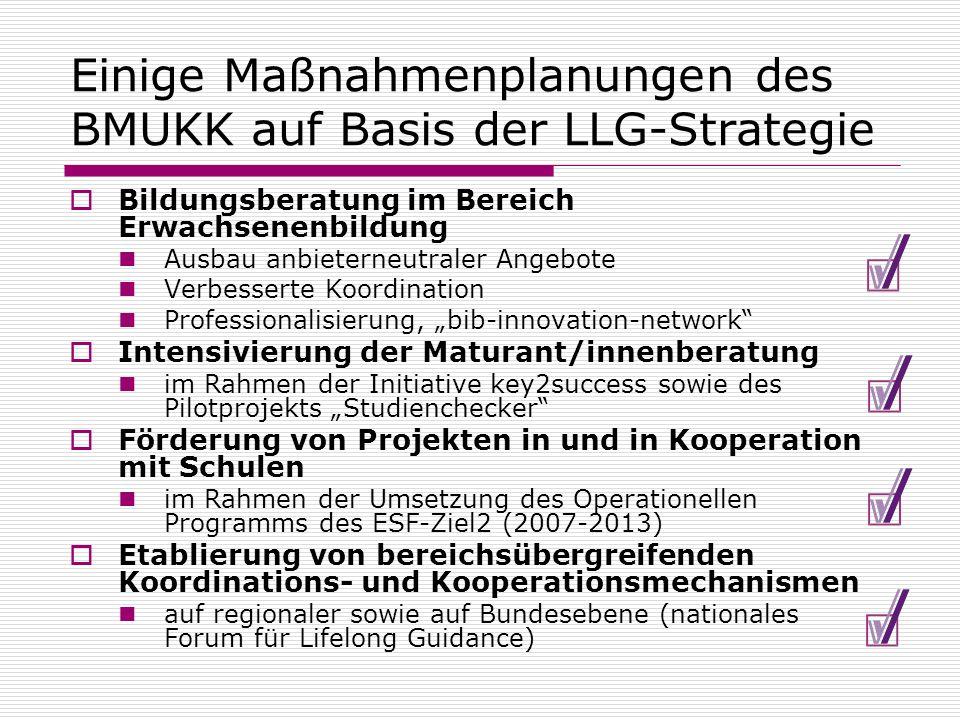 Einige Maßnahmenplanungen des BMUKK auf Basis der LLG-Strategie Bildungsberatung im Bereich Erwachsenenbildung Ausbau anbieterneutraler Angebote Verbe
