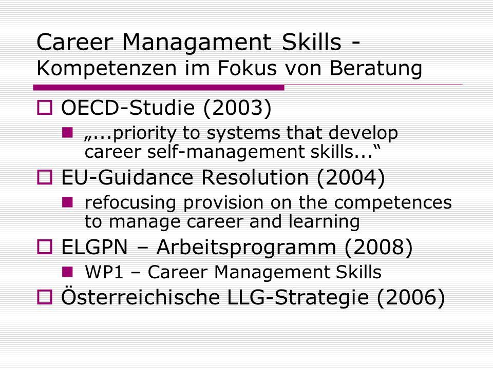 Career Managament Skills - Kompetenzen im Fokus von Beratung OECD-Studie (2003)...priority to systems that develop career self-management skills... EU