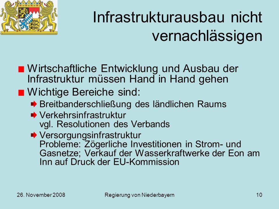 26. November 2008Regierung von Niederbayern10 Infrastrukturausbau nicht vernachlässigen Wirtschaftliche Entwicklung und Ausbau der Infrastruktur müsse
