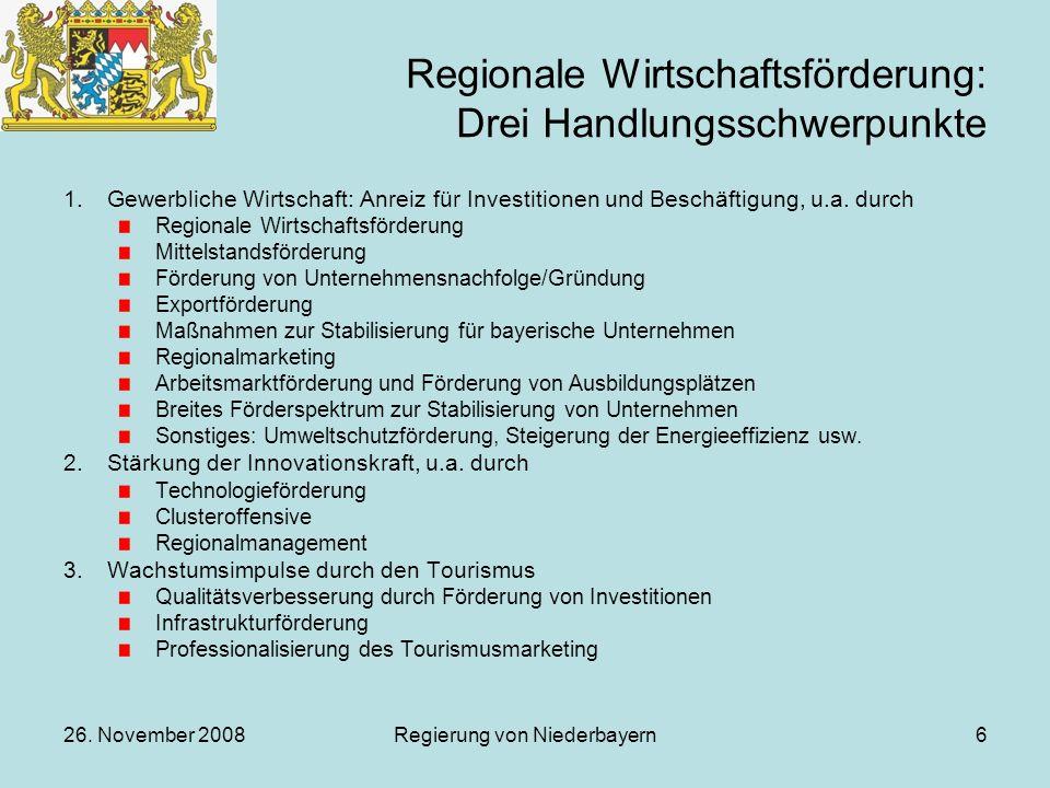 26. November 2008Regierung von Niederbayern6 Regionale Wirtschaftsförderung: Drei Handlungsschwerpunkte 1.Gewerbliche Wirtschaft: Anreiz für Investiti