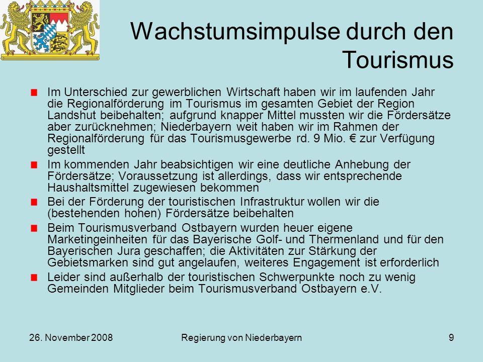 26. November 2008Regierung von Niederbayern9 Wachstumsimpulse durch den Tourismus Im Unterschied zur gewerblichen Wirtschaft haben wir im laufenden Ja