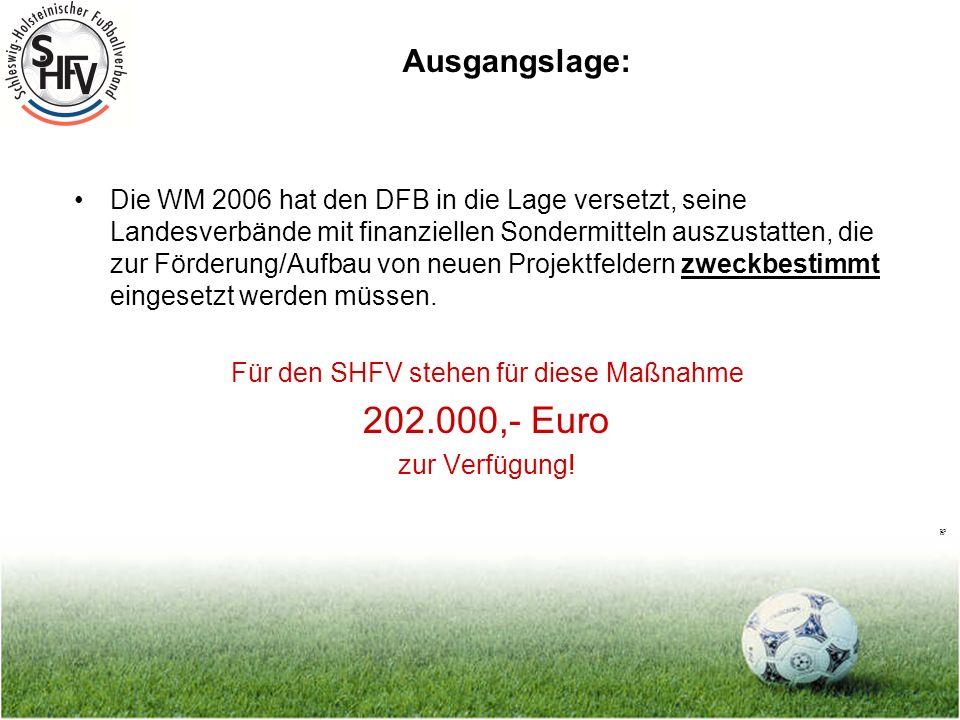 Seite 2 Ausgangslage: Die WM 2006 hat den DFB in die Lage versetzt, seine Landesverbände mit finanziellen Sondermitteln auszustatten, die zur Förderung/Aufbau von neuen Projektfeldern zweckbestimmt eingesetzt werden müssen.