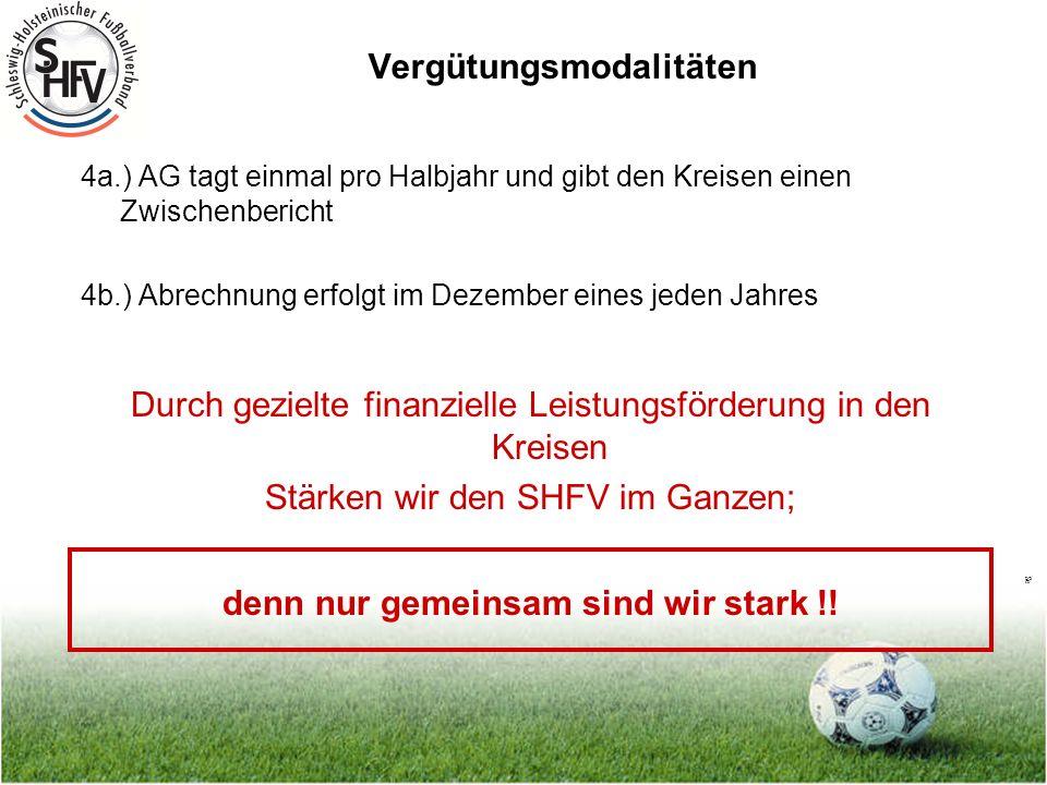 Seite 9 Vergütungsmodalitäten 4a.) AG tagt einmal pro Halbjahr und gibt den Kreisen einen Zwischenbericht 4b.) Abrechnung erfolgt im Dezember eines jeden Jahres Durch gezielte finanzielle Leistungsförderung in den Kreisen Stärken wir den SHFV im Ganzen; denn nur gemeinsam sind wir stark !!