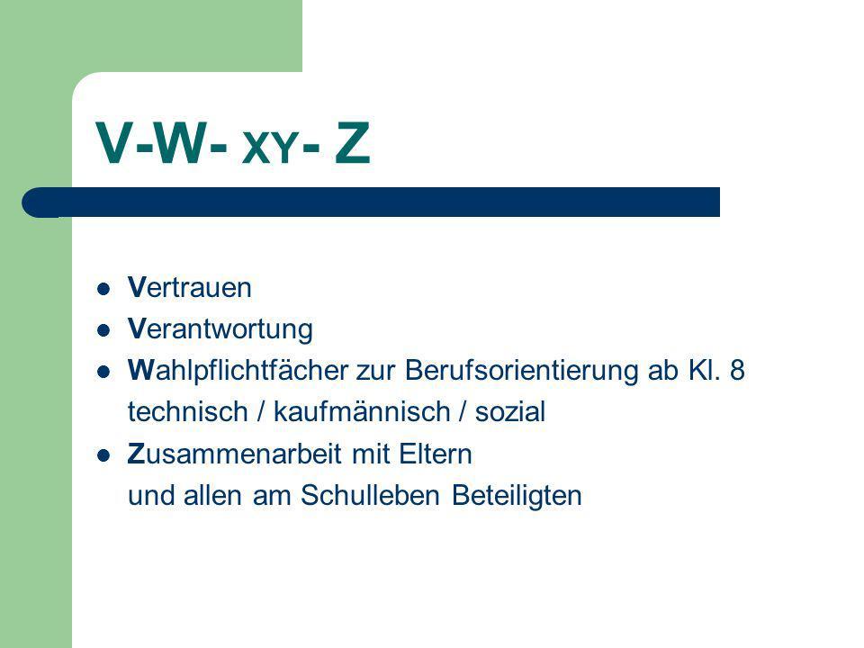 V-W- XY - Z Vertrauen Verantwortung Wahlpflichtfächer zur Berufsorientierung ab Kl.