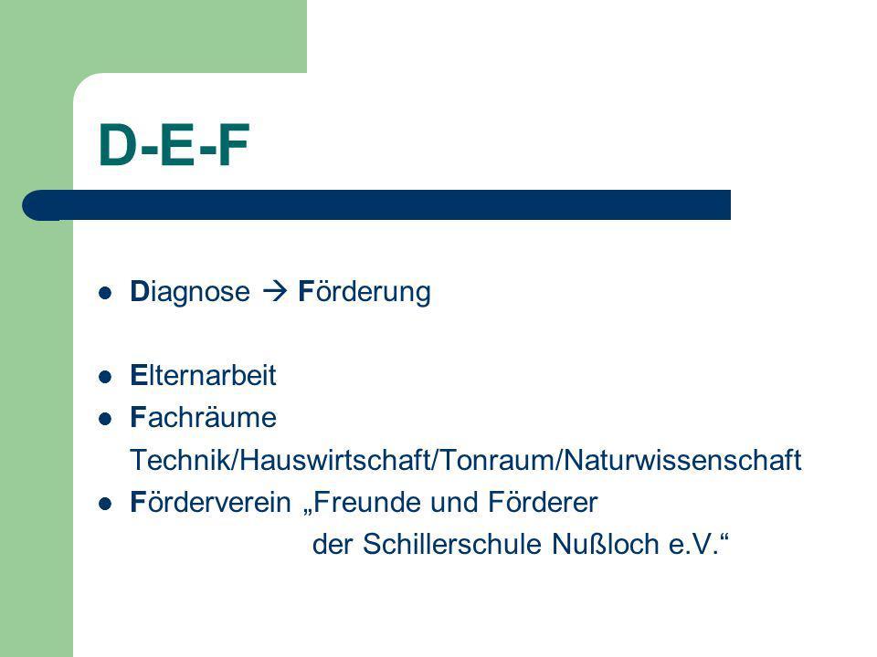D-E-F Diagnose Förderung Elternarbeit Fachräume Technik/Hauswirtschaft/Tonraum/Naturwissenschaft Förderverein Freunde und Förderer der Schillerschule Nußloch e.V.