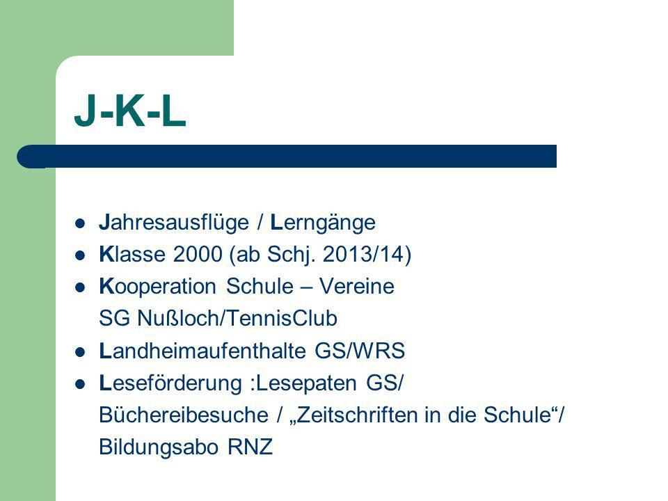 J-K-L Jahresausflüge / Lerngänge Klasse 2000 (ab Schj.