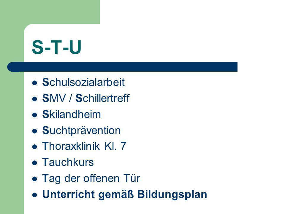 S-T-U Schulsozialarbeit SMV / Schillertreff Skilandheim Suchtprävention Thoraxklinik Kl.