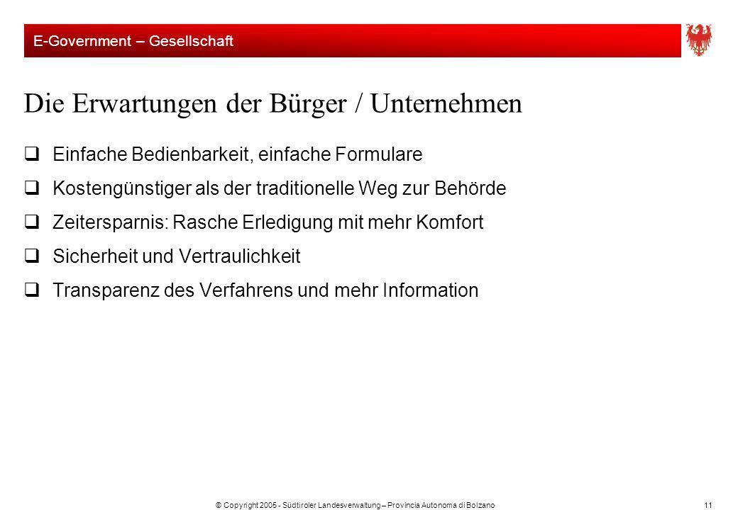 © Copyright 2005 - Südtiroler Landesverwaltung – Provincia Autonoma di Bolzano11 Die Erwartungen der Bürger / Unternehmen Einfache Bedienbarkeit, einf