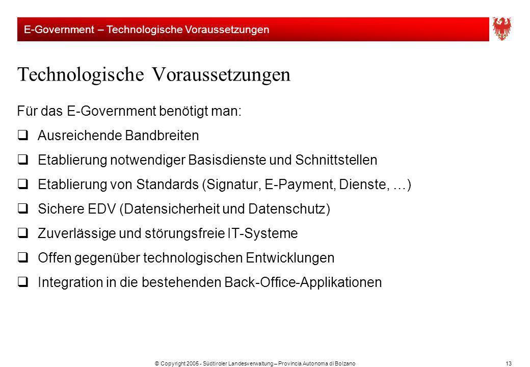 © Copyright 2005 - Südtiroler Landesverwaltung – Provincia Autonoma di Bolzano13 Technologische Voraussetzungen Für das E-Government benötigt man: Aus
