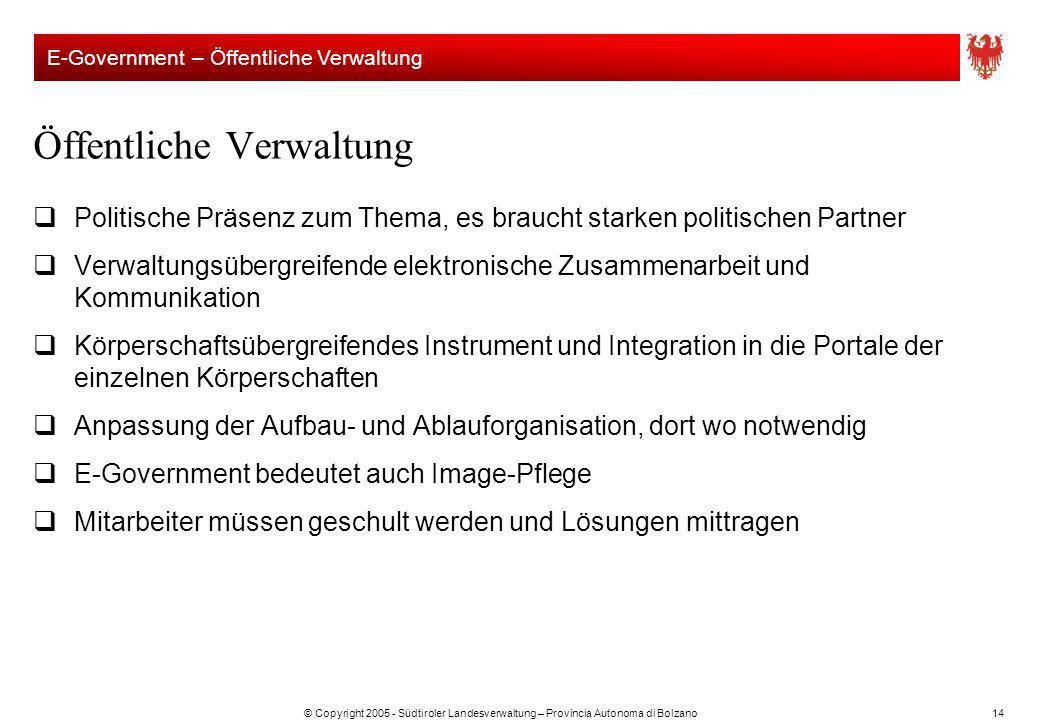 © Copyright 2005 - Südtiroler Landesverwaltung – Provincia Autonoma di Bolzano14 Öffentliche Verwaltung Politische Präsenz zum Thema, es braucht stark