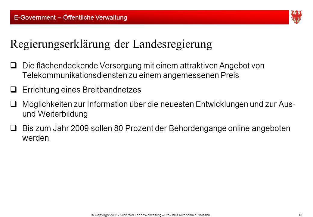 © Copyright 2005 - Südtiroler Landesverwaltung – Provincia Autonoma di Bolzano15 Regierungserklärung der Landesregierung Die flächendeckende Versorgun