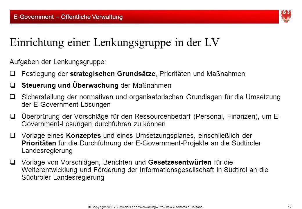 © Copyright 2005 - Südtiroler Landesverwaltung – Provincia Autonoma di Bolzano17 Einrichtung einer Lenkungsgruppe in der LV Aufgaben der Lenkungsgrupp