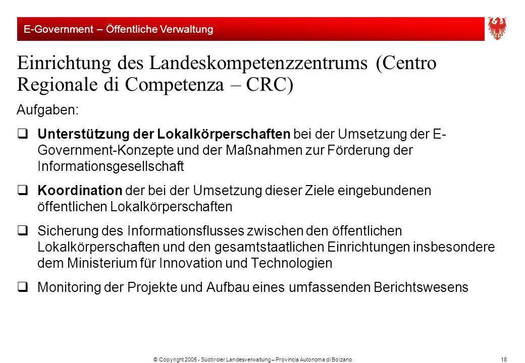 © Copyright 2005 - Südtiroler Landesverwaltung – Provincia Autonoma di Bolzano18 Einrichtung des Landeskompetenzzentrums (Centro Regionale di Competen