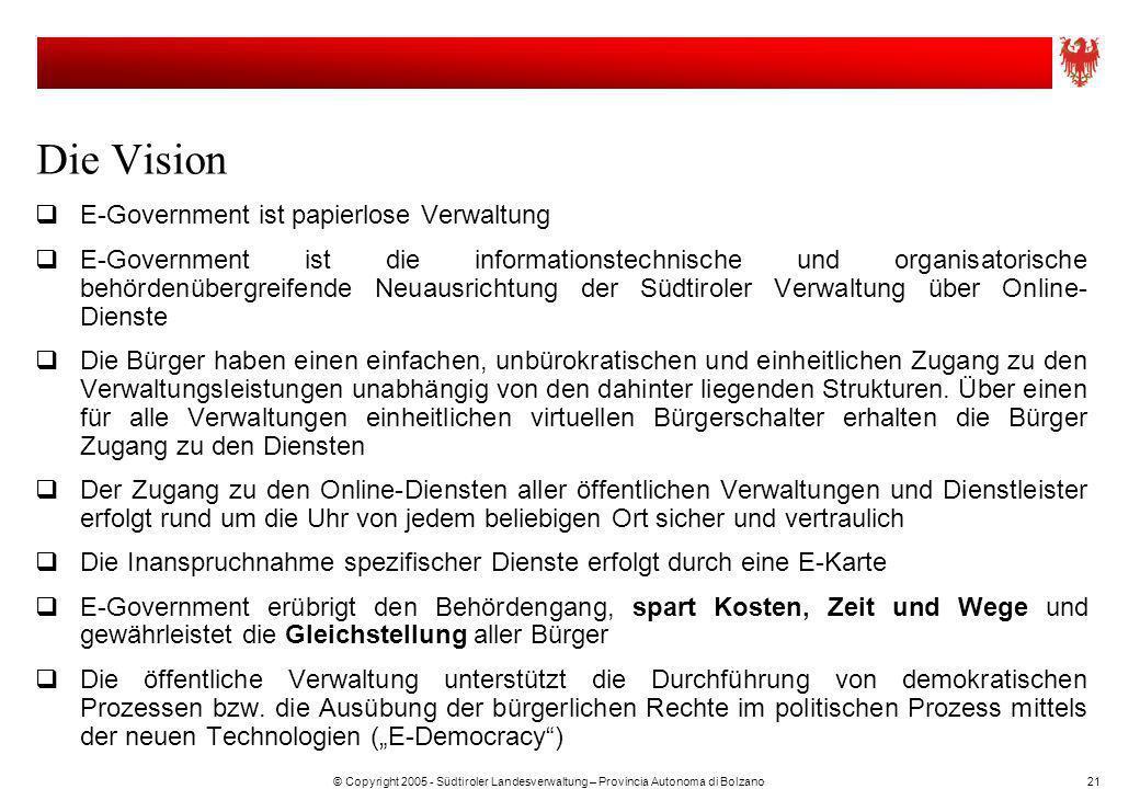 © Copyright 2005 - Südtiroler Landesverwaltung – Provincia Autonoma di Bolzano21 Die Vision E-Government ist papierlose Verwaltung E-Government ist di