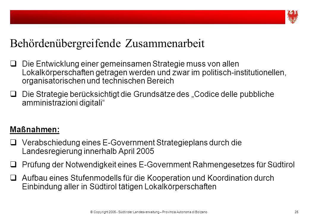 © Copyright 2005 - Südtiroler Landesverwaltung – Provincia Autonoma di Bolzano25 Behördenübergreifende Zusammenarbeit Die Entwicklung einer gemeinsame