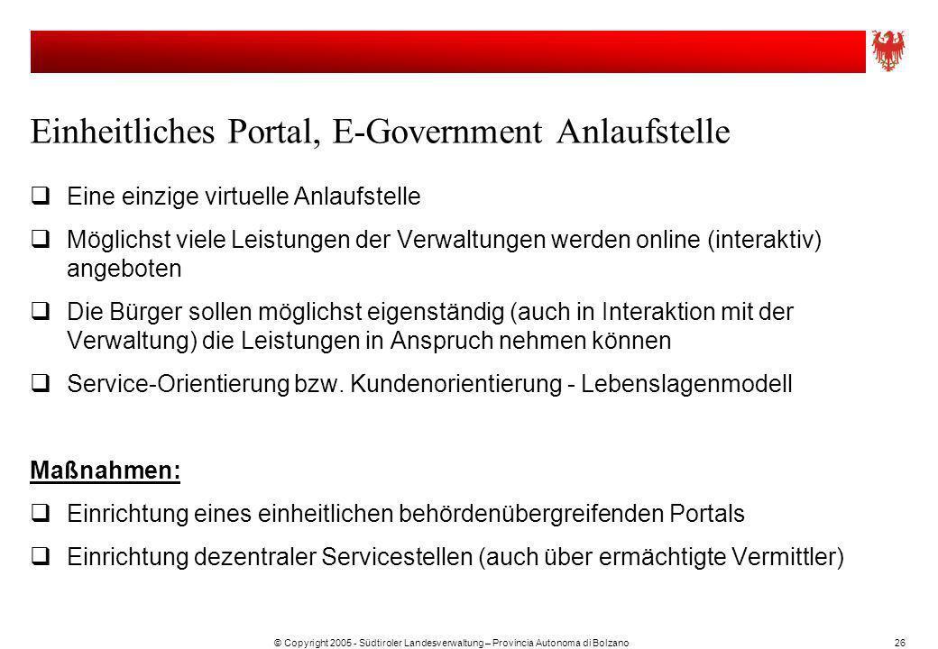 © Copyright 2005 - Südtiroler Landesverwaltung – Provincia Autonoma di Bolzano26 Einheitliches Portal, E-Government Anlaufstelle Eine einzige virtuell